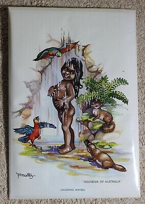 "1950's Peg Maltby Aboriginal Print Laughing Waters ""Souvenir if Australia"""
