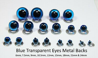 TRANSPARENT BLUE Crystal Eyes with METAL BACKS - Teddy Bear Toy Doll Safety