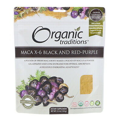 Maca X-6 Black and Red-Purple, 5.3 oz (150 g) - Organic Traditions