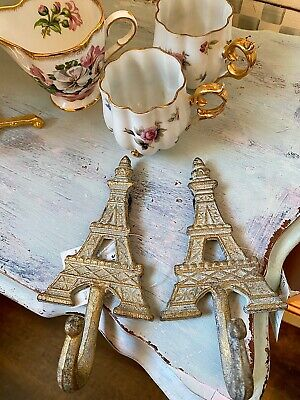 2 Eiffel Tower French Wall Hooks Shabby Cottage Chic Blue And Gold New W/Tag