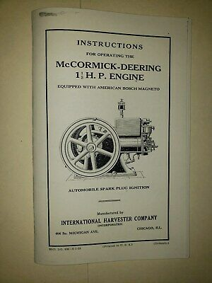 Instructions Manual For IHC/McCormick-Deering Type M Gas Engine with Bosch Mag