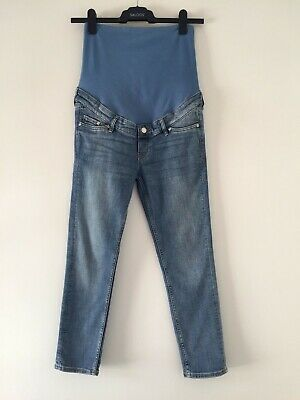 MATERNITY JEANS, H&M UK size 12, skinny ankle high rib MAMA, blue, pregnancy