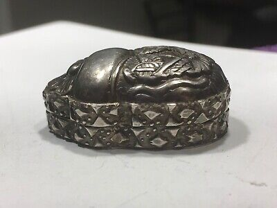 ANTIQUE Chinese Export Silver ORNATE PILL/SNUFF BOX =VINTAGE SCARAB 22.48 GRAMS