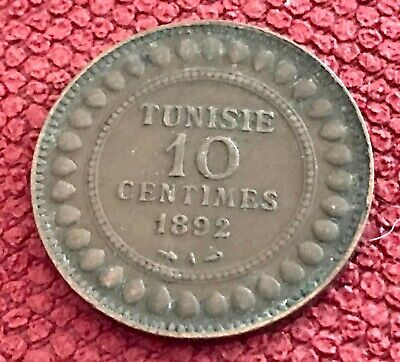 Tunisia circulated 1309/1892A 10 Centimes Bronze
