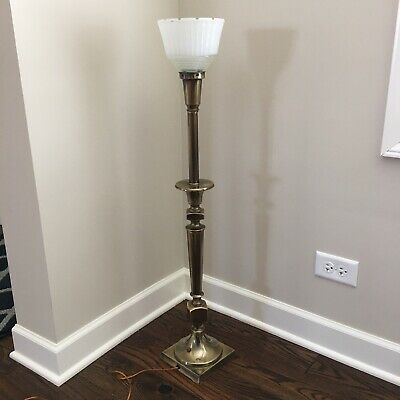 VTG Mid Century TORCHIERE HEAVY BRASS MCM TABLE LAMP Milk Glass Shade Rembrandt