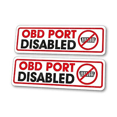 x2 BMW OBD Port Disabled Window Stickers Immobiliser Security Theft