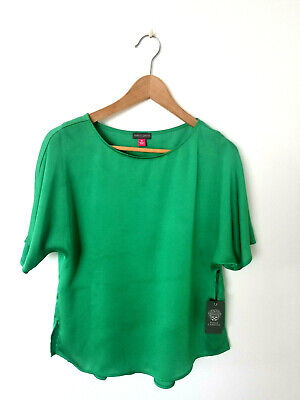 VINCE CAMUTO BRIGHT Green Button Front Roll Tab Tie Waist