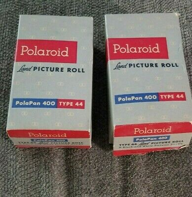 2 Polaroid PolaPan 400 Land Picture Film Rolls 8 B&W Type 44 Sealed Exp. 5/1956