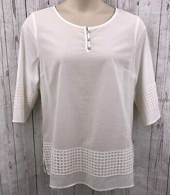 Isaac Mizrahi Live Womens Tunic Top Size Large White Embroidery 3/4 Sleeve NWOT