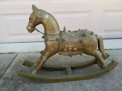 Vtg - Antique Anglo-Indian Tibetan Wood Brass & Copper Rocking Horse Sculpture