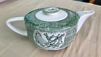 Royal China: The Old Curiosity Shop Teapot in Green and WhiteRARE