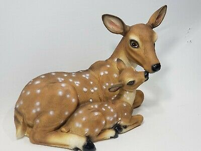 Brown Mother's Love, with Fawn Baby Statue Laying Down C22634