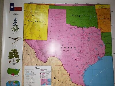 Nystrom Pull Down Map - State of Texas - For Class Room or Home Library