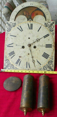 Antique 8 DAY  English GRANDFATHER CLOCK MOVEMENT MOON SHIP CALENDAR DIAL