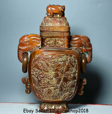"10.8"" Xuande Marked Old Chinese Ox Horn Dynasty landscape Elephant Bottle Vase"