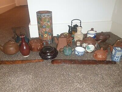 Antique Chinese Yixing Teapots and Porcelain collection job lot