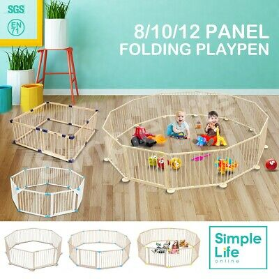 8/10/12 Panel Wooden Baby Playpen Pet Kids Toddler Fence Play Yard Foldable