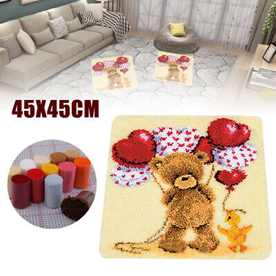 45x45cm AU Large Latch Hook Rug Embroidery Kits DIY Carpet Making Bear Balloon