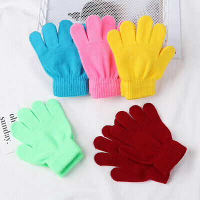 Hot Candy Color Boy Girl Kids Stretch Glove Children Knitted