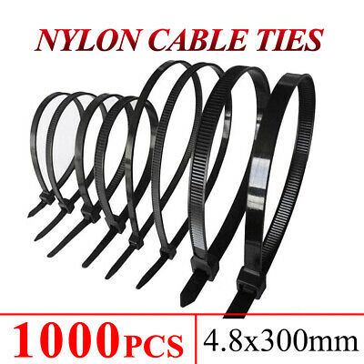 Cable Ties Zip Ties Nylon UV Stabilised Bulk Black Cable ties 5mm 300mm 1000PCS