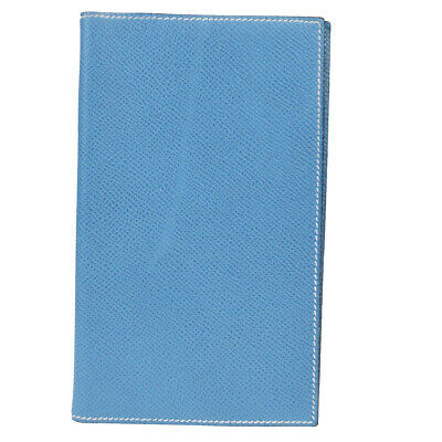 Auth HERMES Logos Agenda Day Planner Notebook Cover Leather Blue France 09EZ278