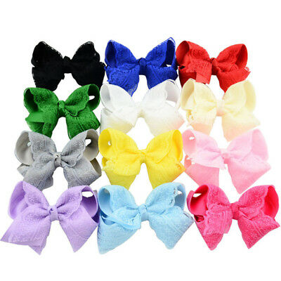 Girls Kids Crochet Lace Bow Knot Decor Hair Pins Clips Grosgrain Ribbon Bows