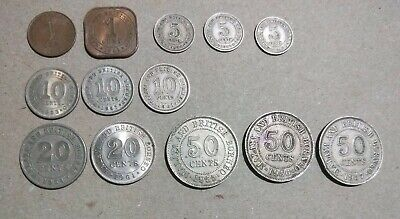 13 different Malaya & British Borneo colonial English coins