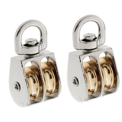 Pack of 2 Double Wheel Pulley Sheave Swivelling Eye Hanging Pulley Block 1''