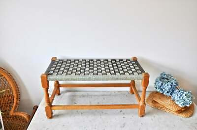 Vintage rectangular woven top stool or plant stand from the 1960s