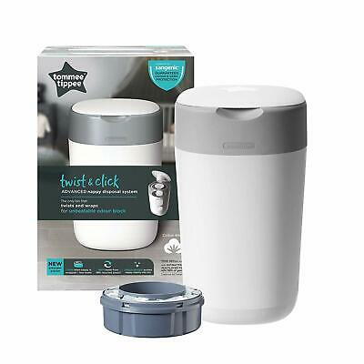 Tommee Tippee Twist and Click Advanced Nappy Disposal Sangenic Tec Bin,White NEW