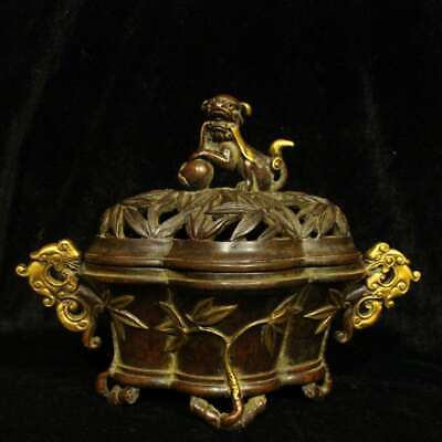 China Ming Dynasty Xuande Pure Bronze Gilding Lion Dragon Bamboo Incense Burner