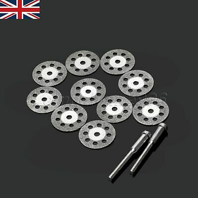 10Pcs 20mm Rotary Diamond Cutting Cut Off Discs Wheel with 2 Mandrel Drill Bits