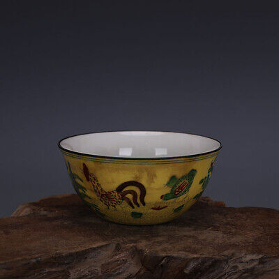 """Old Chinese chenghua marked doucai Porcelain hand painted chicken tea cup 3.4"""""""