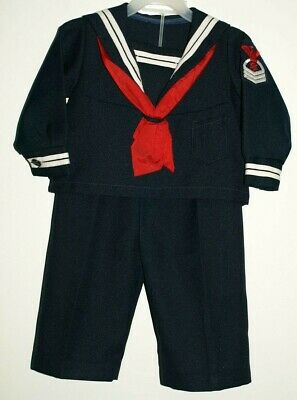 4T Boys Navy Outfit 2 piece Blue Red Tie vtg pants jacket