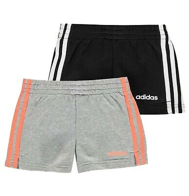 Girls Adidas Casual Sportswear Soft Essential 3 Stripe Shorts Sizes from 7 to 13