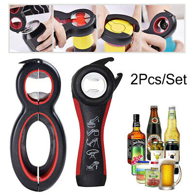 2Pcs Multi All In One Bottle Jar Can Opener Kitchen Soda Beer Lid Twist Off Tool