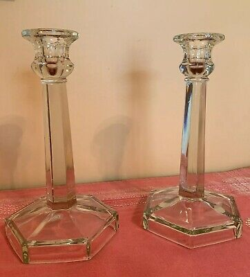 """Vintage Antique Pressed Glass Candle Holders Pair 8.5"""" Tall"""