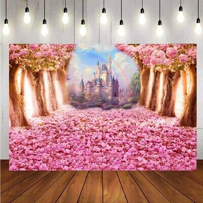 Rainbow Fairy Tale Castle Photography Backdrop Princess Party Photo Background