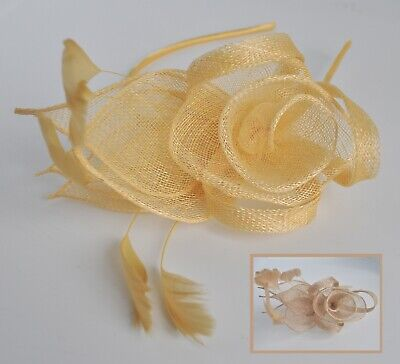 Primrose/Tiffany/duck egg blue/blush/oatmeal sinamay feather fascinator/headband