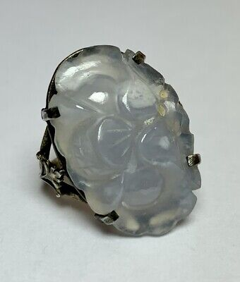 Antique CHINESE CARVED MUTTON FAT WHITE JADE RING in STERLING SILVER MOUNT