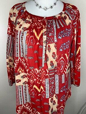 Chaps By Ralph Lauren 1X Red Blue Paisley 3/4 Sleeve Top Blouse