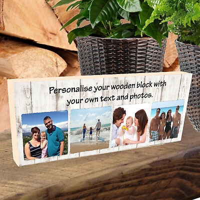 """Personalised Photo Block 11x4"""" Wooden Picture Any Image Family Memories Keepsake"""