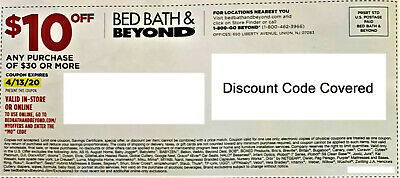 Bed Bath Beyond $10 of $30 plus expires 4/13/20 In-Store Online Discount Coupon