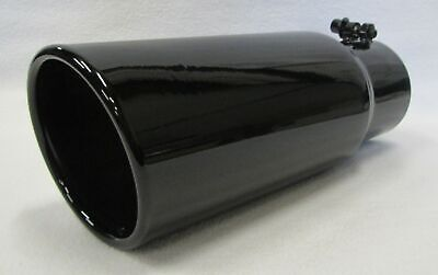 """5/"""" inlet 6/"""" outlet 18/"""" long GLOSS BLACK Rolled Angle Diesel Exhaust Tip CUSTOM"""