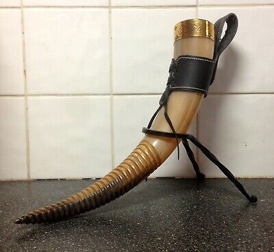 Medieval Viking Beer Ale Drinking Horn with Stand and Belt attachment