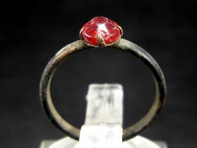 ORIGINAL ANTIQUE CHILD RING from 1800's. , RED GLASS STONE!!!