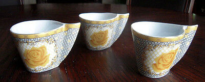 Golden Winged Japanese Tea Cups w/ a Single Yellow Rose Salma Collection