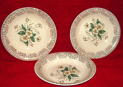 Edwin Knowles 1950's Soup Bowl Set of White/Yellow Floral Coupe w/Gold Filigree
