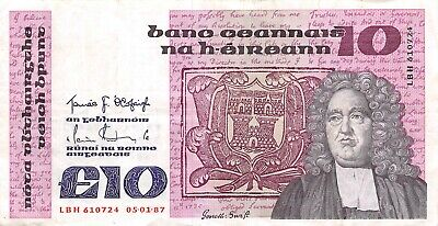 Ireland  10  Pounds   05.01.1987  P 72b  Series  LBH  Circulated Banknote X11