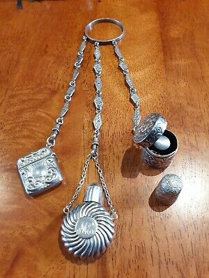 Hallmarked Silver Chatellaine with Scent Bottle, Stamp Case & Thimble And Case